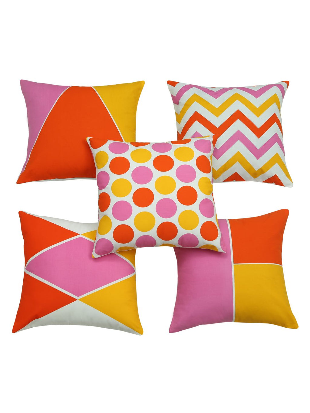 Handcrafted Abstract Geometry Coral Cushion Covers (Set of 5)