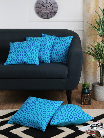 Handcrafted Azure Artistry Cushion Covers (Set of 5)