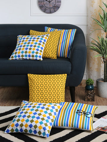 Handcrafted Geometrical Festival Cushion Covers (Set of 6)