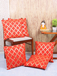 Handcrafted Set Of 5  Red Gold Foil Lattice Cushion Covers