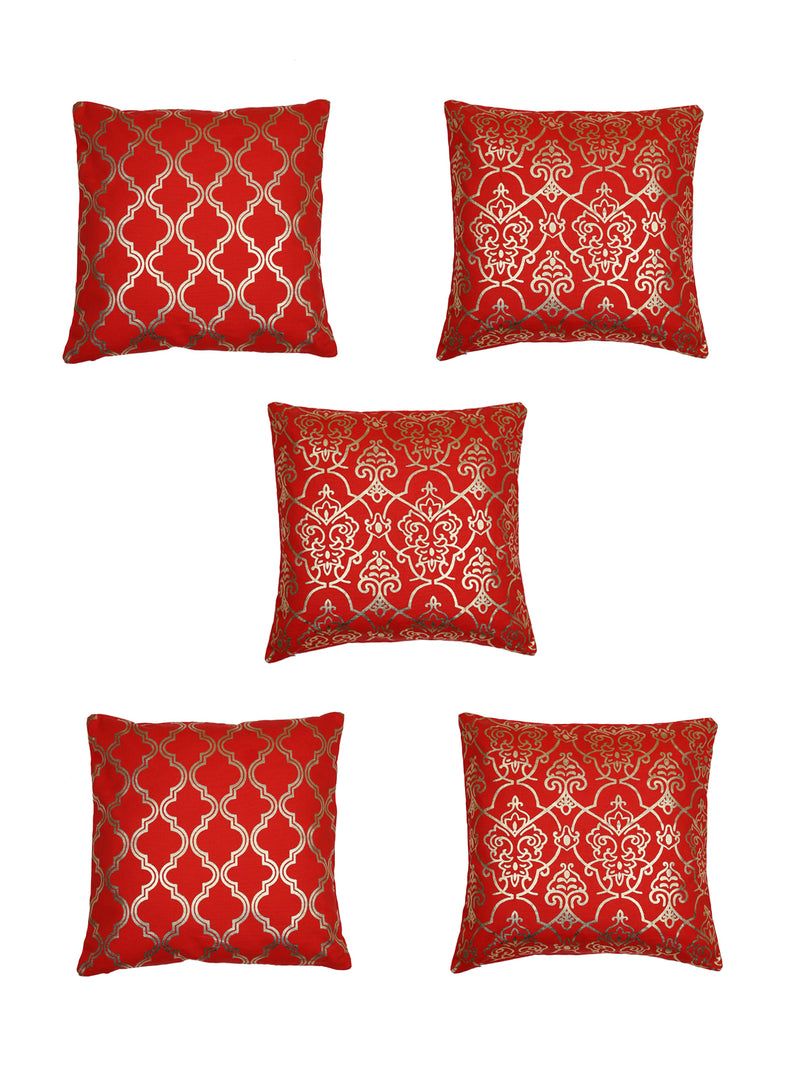 Handcrafted Set Of 5 Red Gold Foil Abstract Cushion Cover