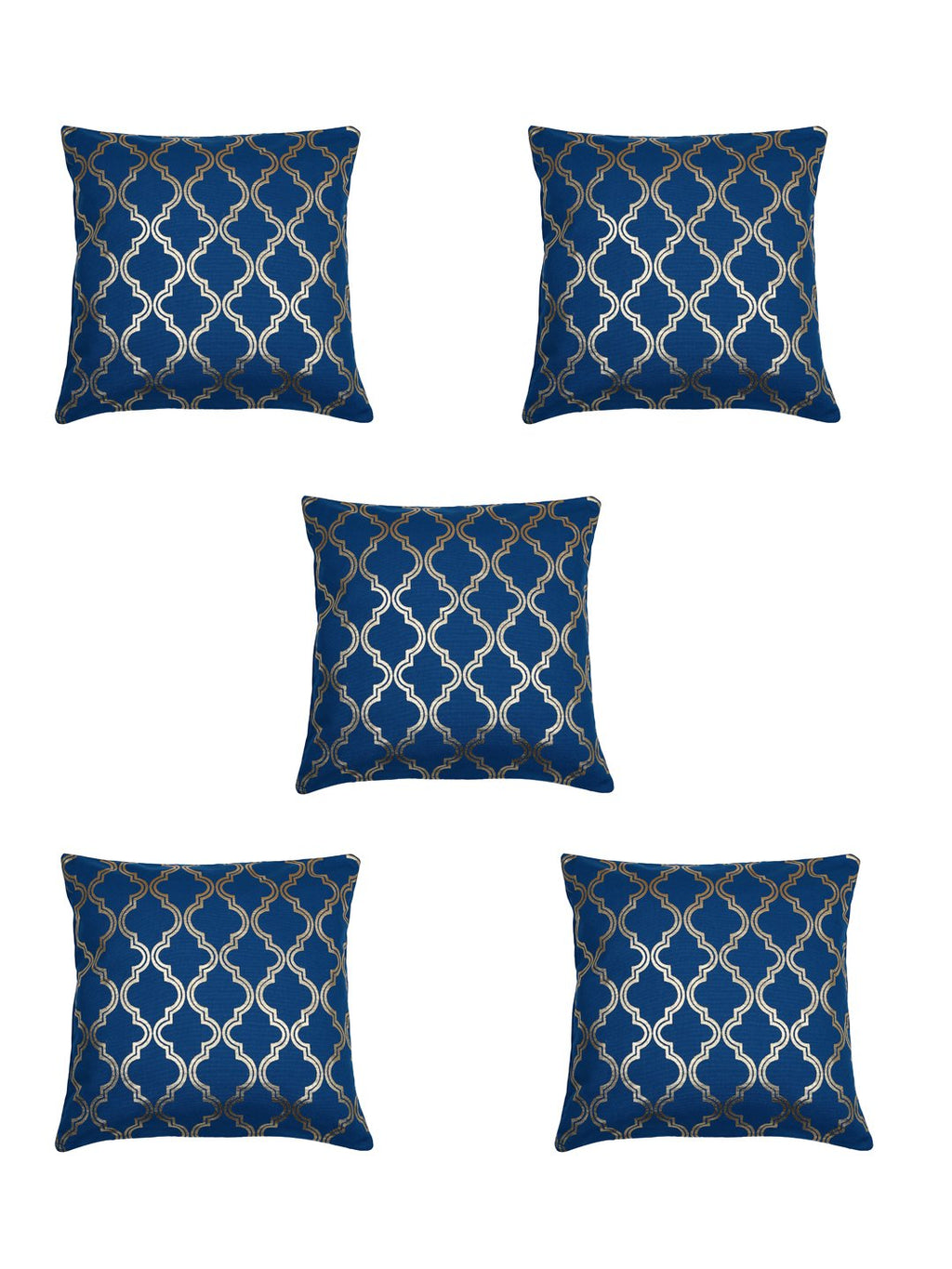 Handcrafted Set Of 5 Blue Gold Foil Lattice Cushion Cover