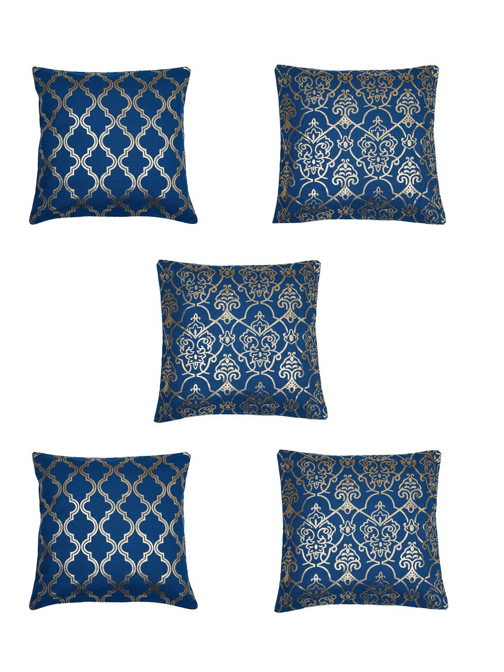 Handcrafted Set of 5 Blue Gold Foil Abstract Cushion Cover