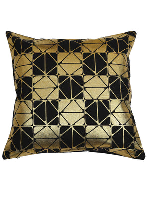 Handcrafted Set Of 5  Black Gold Foil Abstract Cushion Covers