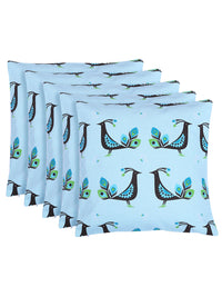 "RANGRAGE Handcrafted Beautiful Peacock Set of 5 Cushion Cover (16"" x 16"")"