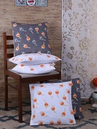"RANGRAGE Handcrafted Fruit Design Set of 5 White & Grey Cushion Cover (16"" x 16"")"