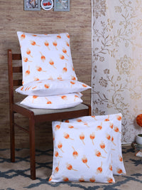 "RANGRAGE Handcrafted Fruit Design Set of 5 White Cushion Cover (16"" x 16"")"