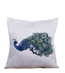 Hand-painted Peacock Cushion Cover - RANGRAGE