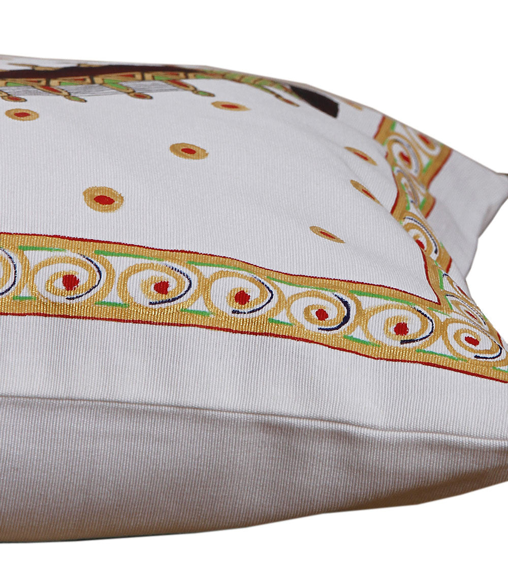 Hand-painted  Tanjore Rudra Veena Cushion Cover - RANGRAGE