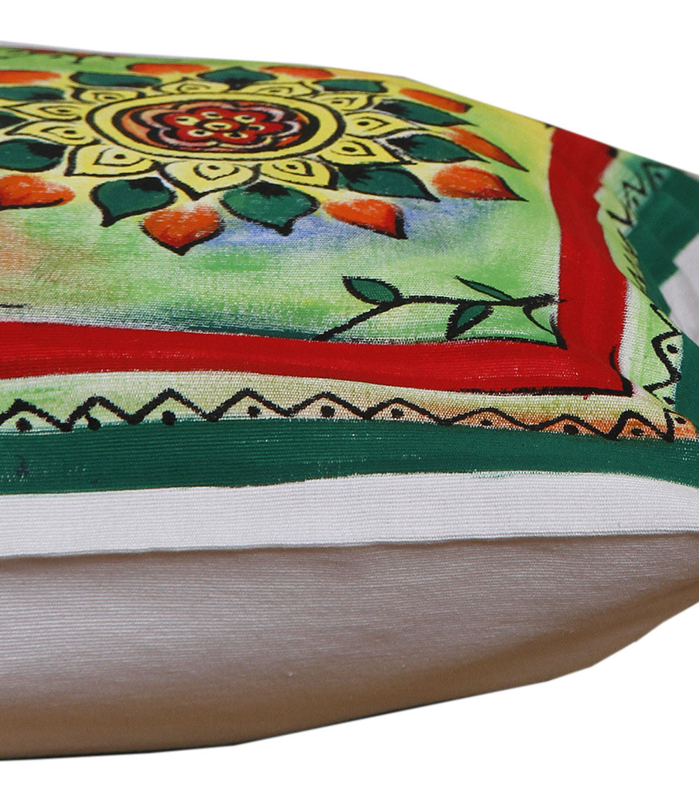 Hand-painted Colorful Floral Cushion Cover - RANGRAGE
