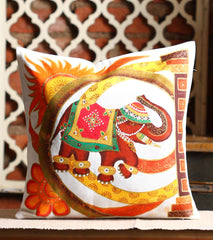 Hand-painted Royal Elephant  Cushion Cover - RANGRAGE
