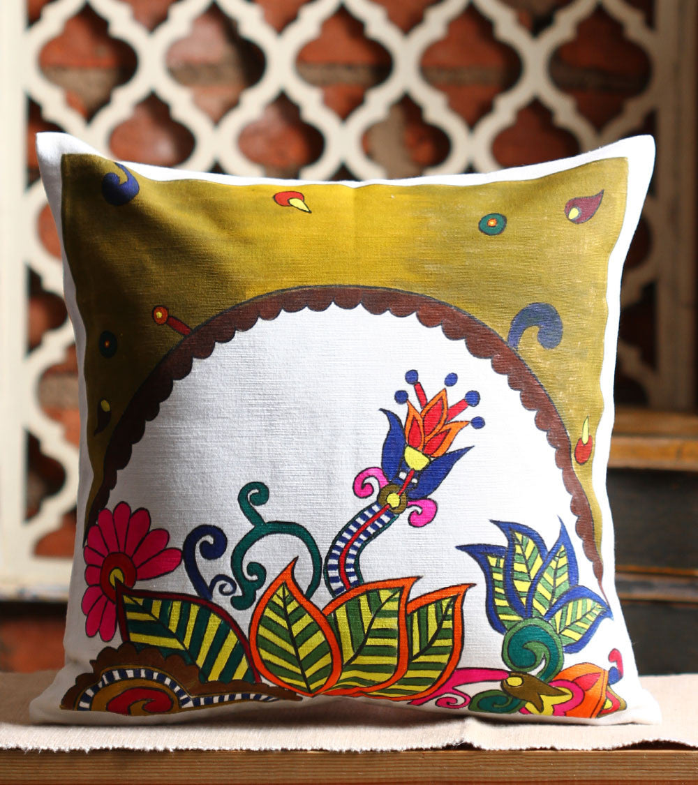 Hand-painted Floral Ecstacy Cushion Cover - RANGRAGE