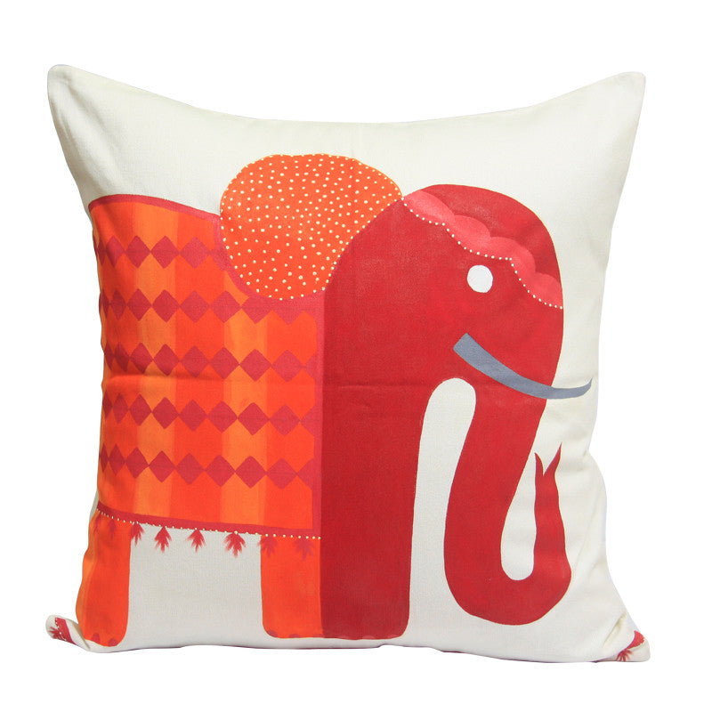Handcrafted Regal Peach Elephant Cushion Cover