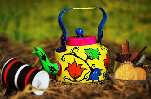 Hand-painted Spring Bloom kettle