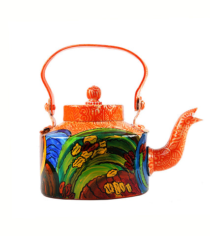 Hand-painted Mandana with Waves Kettle