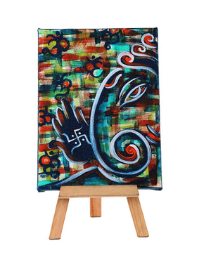 Hand-painted Contemporary Ganesha Mini Painting - RANGRAGE