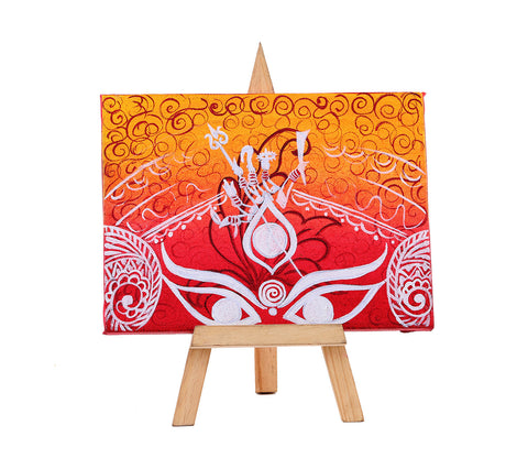 Hand-painted Majestic Durga Mini Painting