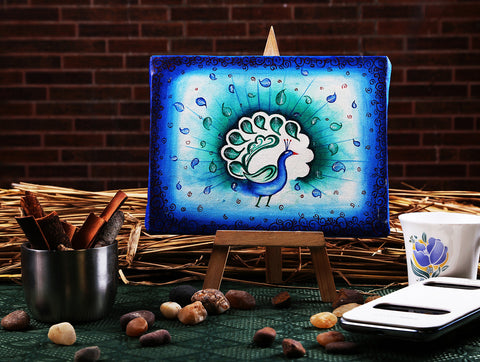 Hand-painted Peacock Pallette Mini Painting