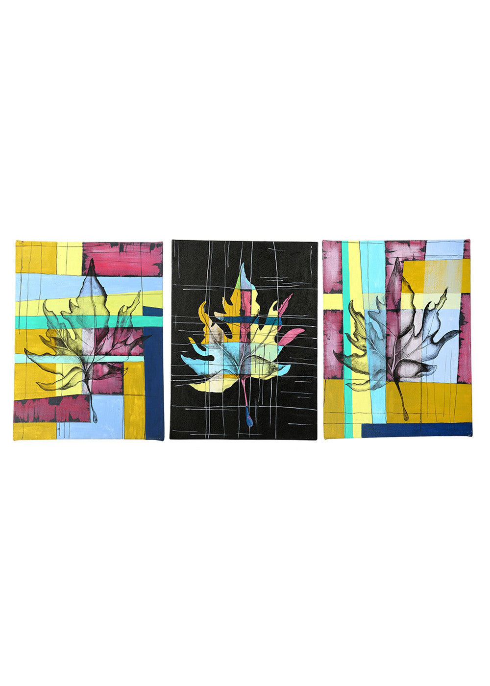 Hand-painted Contrasting Maple Leaves Panel painting - RANGRAGE