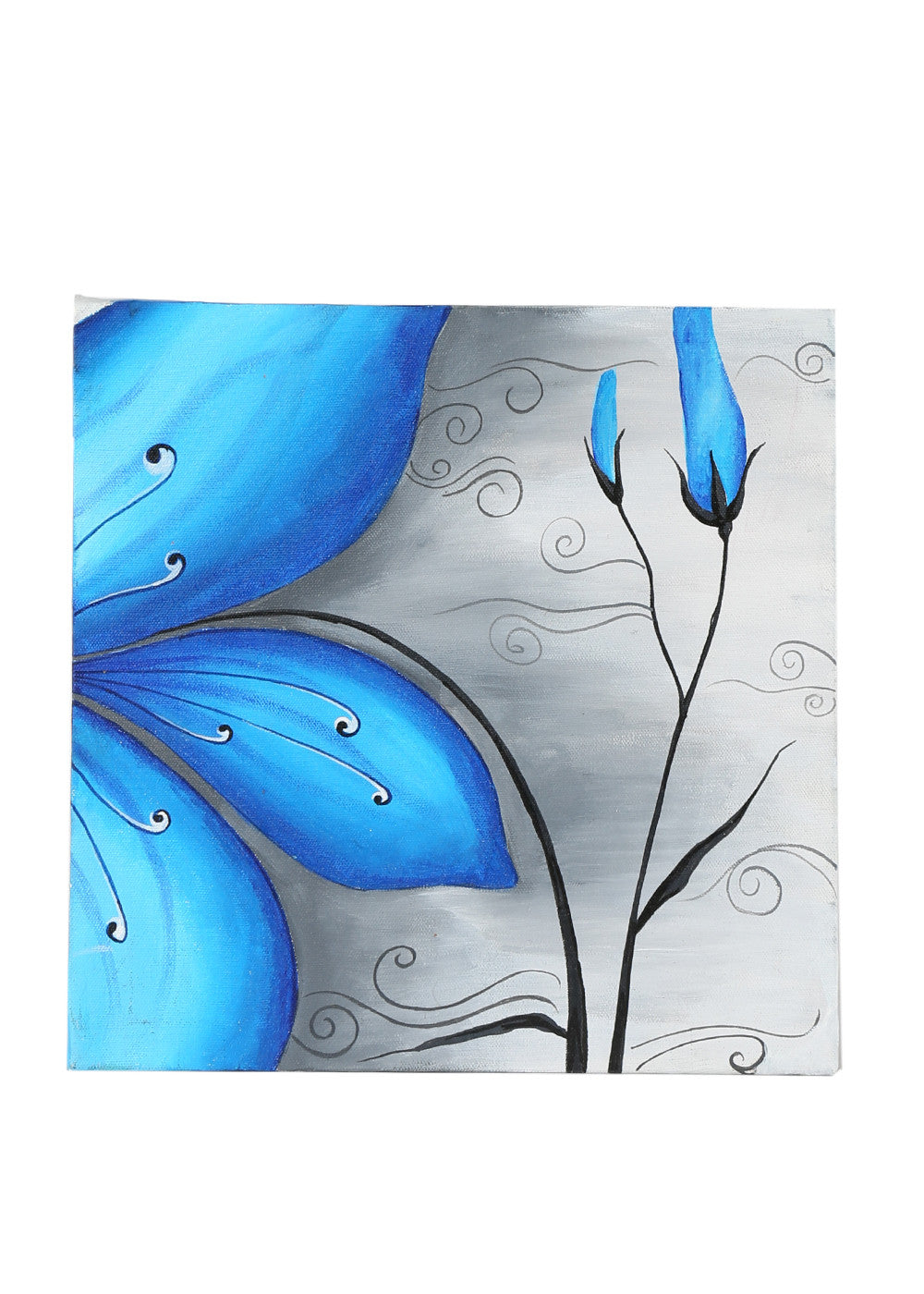 Hand-painted Floweral Musing Blue Panel Painting - RANGRAGE