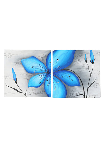 Hand-painted Floweral Musing Blue Panel Painting