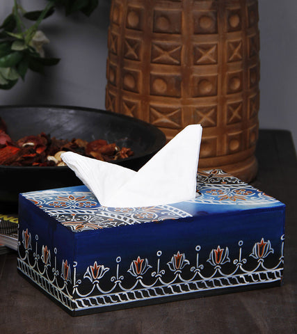 Hand-painted Marbled Mughal Tissue Box Holder