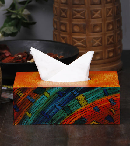 Hand-painted Mandana with Waves Tissue Box Cover
