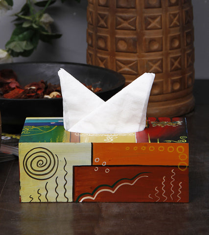 Hand-painted Abstract Colors Tissue Box Cover