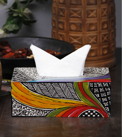 Hand-painted Heena Waves Tissue Box Covers