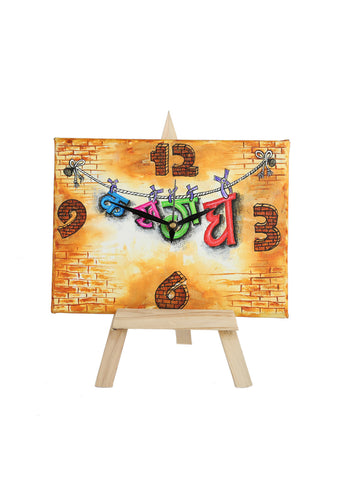 Hand-painted Akshar magic Table Clock