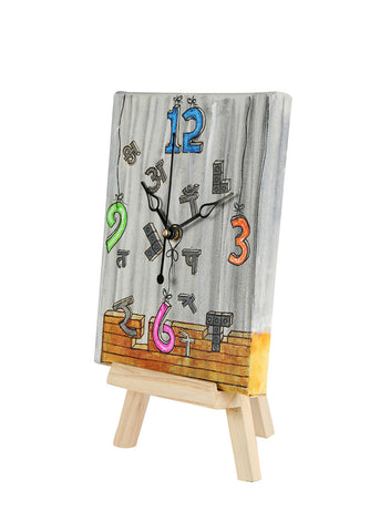 Hand-painted Bricks Breaking Table Clock