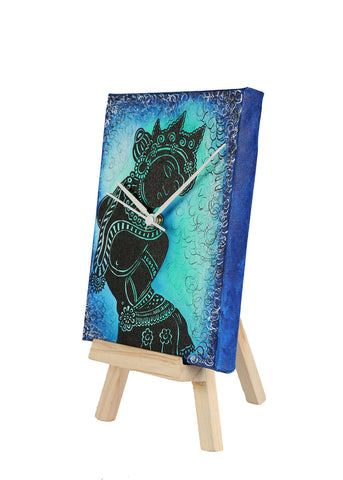 Hand-painted Ajanta Black Table Clock