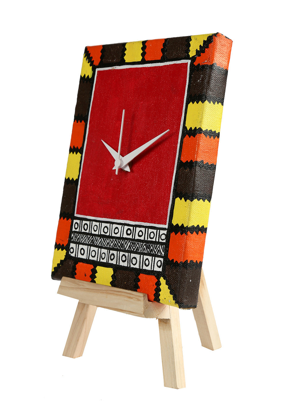 Hand-painted Red Warli Twist Table Clock - RANGRAGE