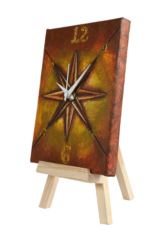 Hand-painted Artistic Compass Table Clock