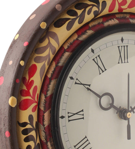 Hand-painted Classic Floral Ikat Table Clock