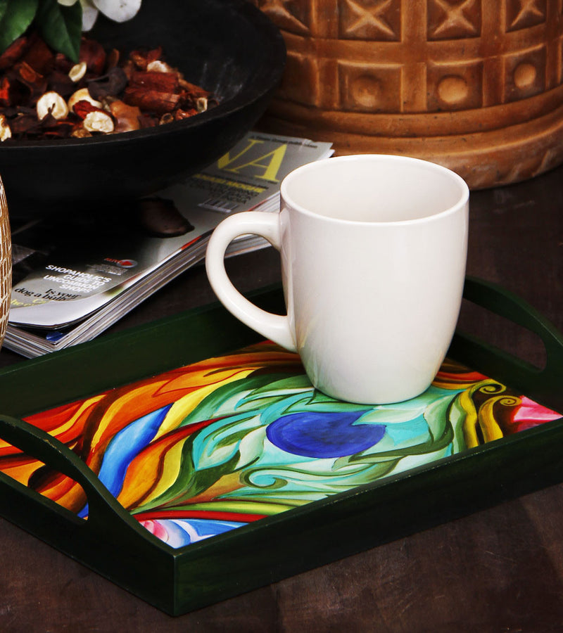 Hand-painted Lotus Peacock Feather Tray - RANGRAGE