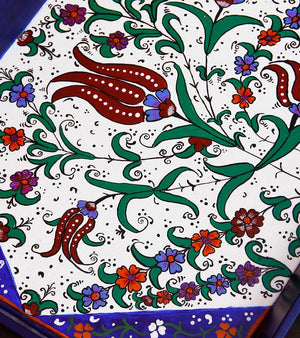 Hand-painted Mughal Flowers Tray - RANGRAGE