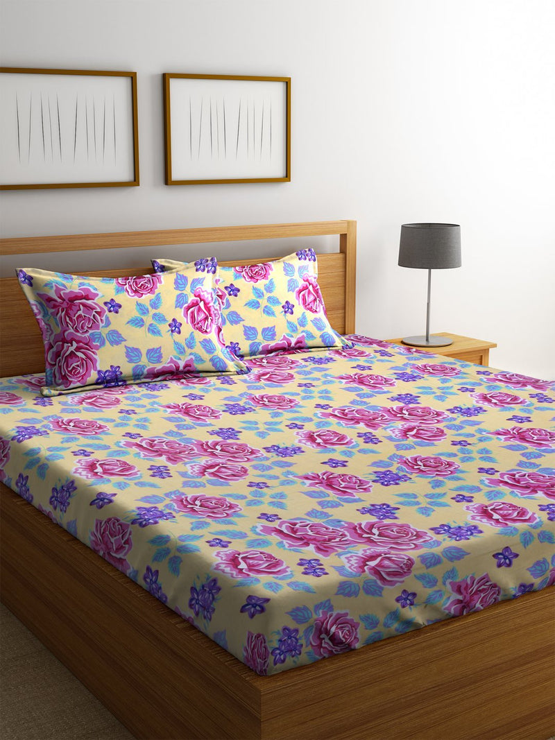 Mafatlal Multi Color Cotton 110 TC Double Bed Sheet with 2 Pillow Covers