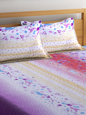 Mafatlal Multi Cotton 200 TC Double Bed Sheet with 2 Pillow Covers