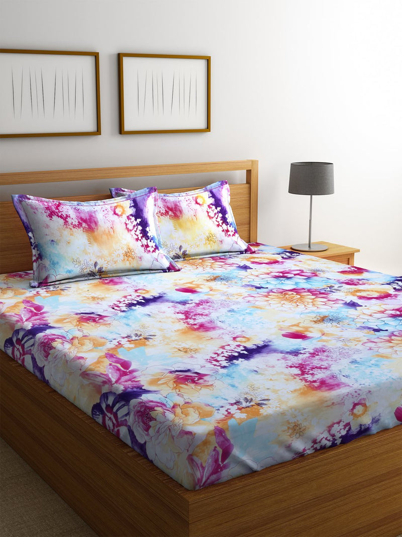 Mafatlal Multi Color Cotton 200 TC Double Bed Sheet with 2 Pillow Covers