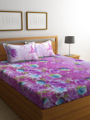 Mafatlal Violet Cotton 200 TC Double Bed Sheet with 2 Pillow Covers