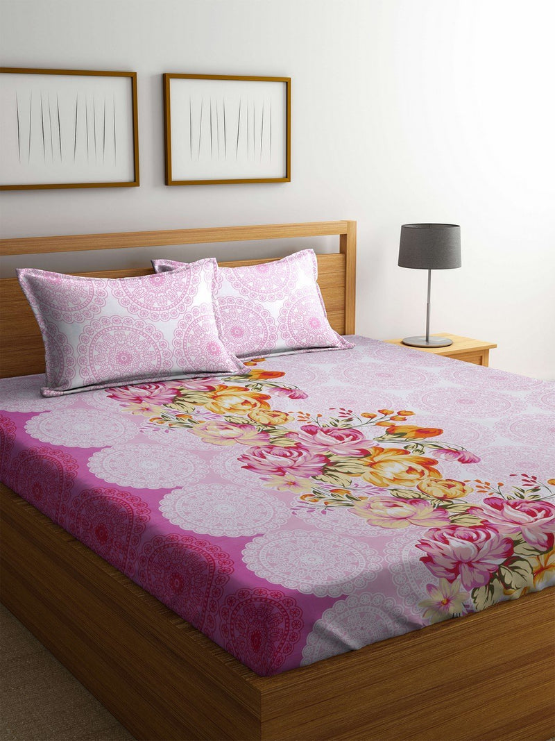 OYSTER  Pink Color Cotton 144 TC Double Bed Sheet With Pillow Covers