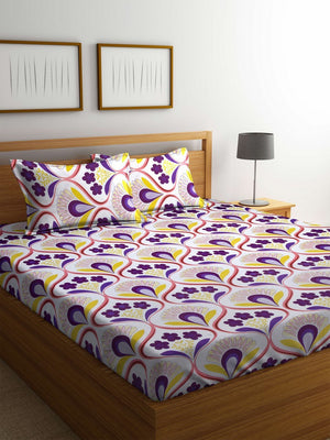 OYSTER  Multi Color Cotton 144 TC Double Bed Sheet With Pillow Covers