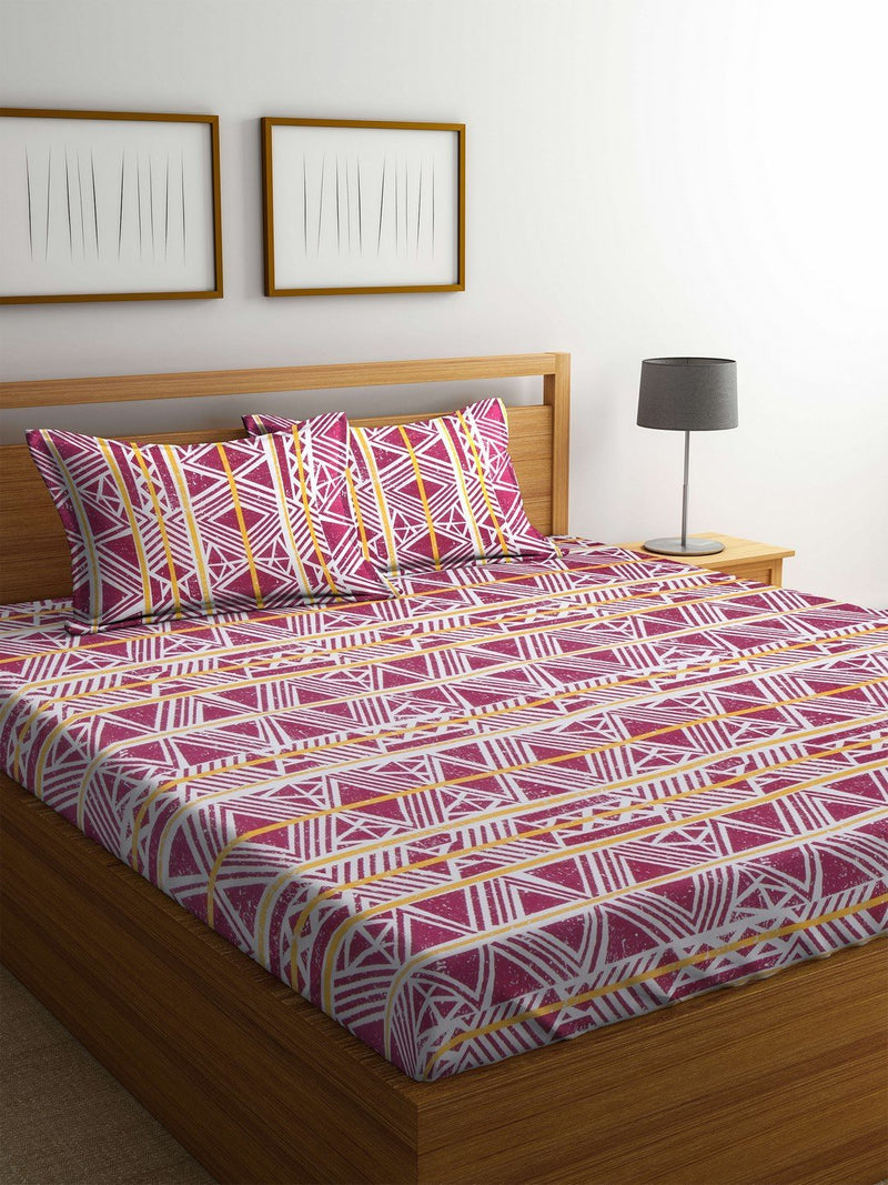 OYSTER  Red Cotton 144 TC Double Bed Sheet With Pillow Covers