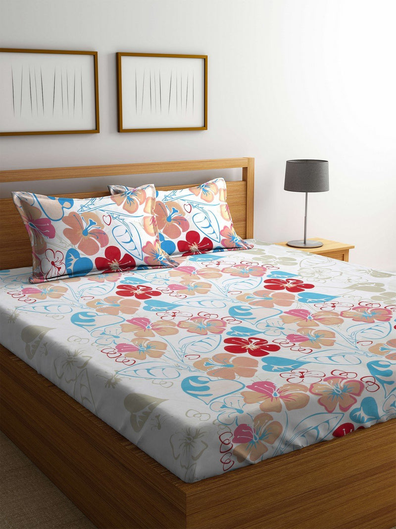 Buy Online OYSTER  White Cotton 144 TC Double Bed Sheet With Pillow Covers