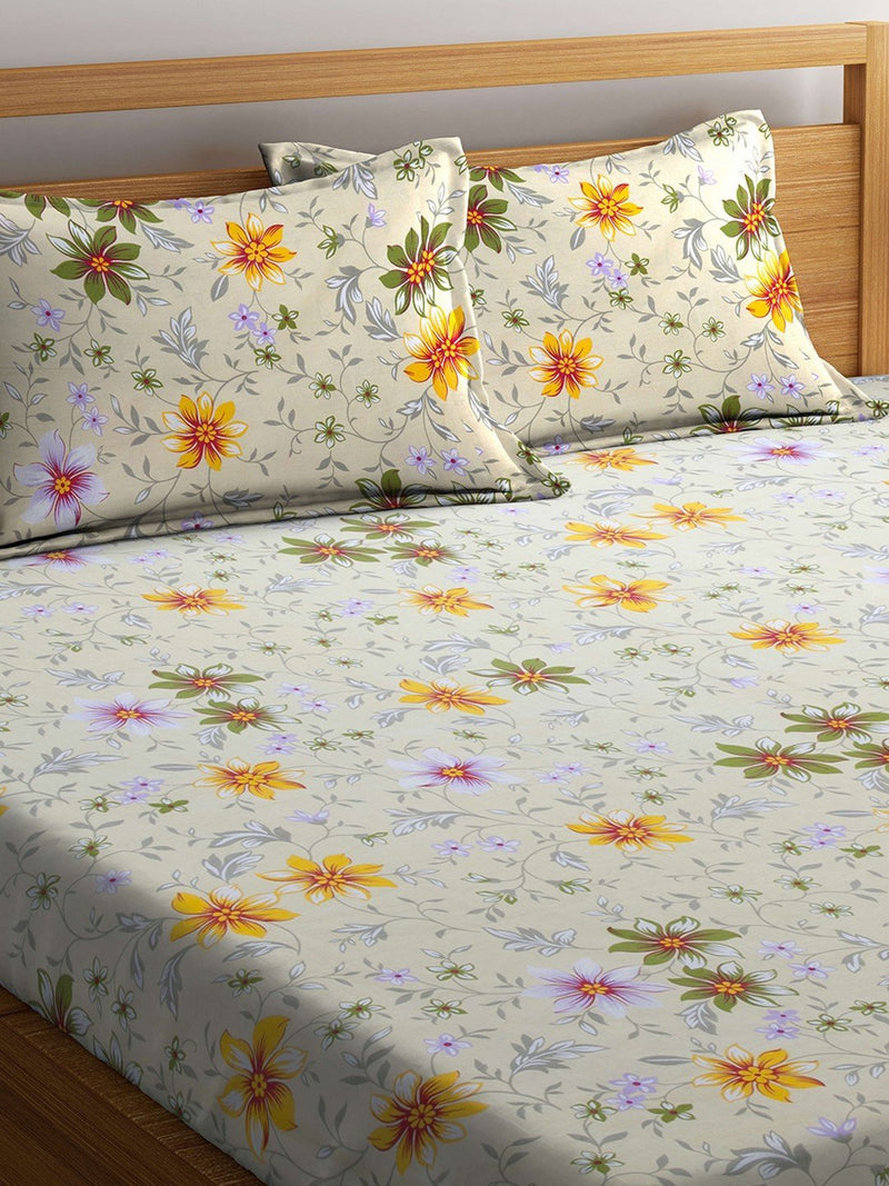 OYSTER  Cream Cotton 144 TC Double Bed Sheet With Pillow Covers