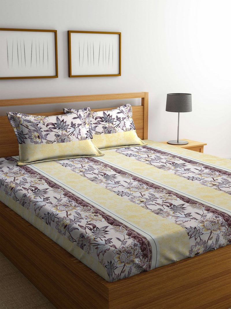 Buy Online OYSTER  Yellow Cotton 144 TC Double Bed Sheet With Pillow Covers