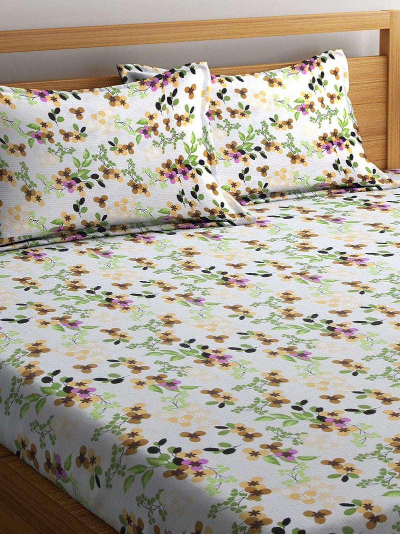 OYSTER  White Color Cotton 144 TC Double Bed Sheet With Pillow Covers