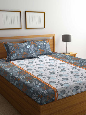 OYSTER  Grey Cotton 144 TC Double Bed Sheet With Pillow Covers