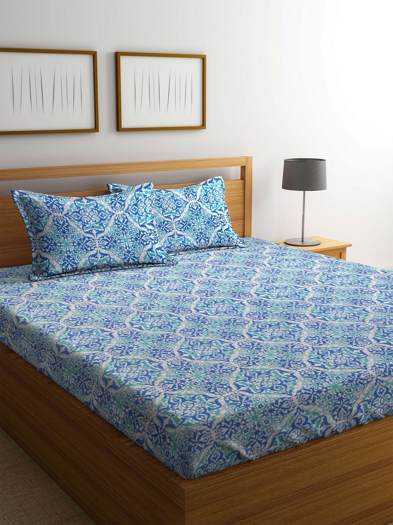 OYSTER  Blue Cotton 144 TC Double Bed Sheet With Pillow Covers